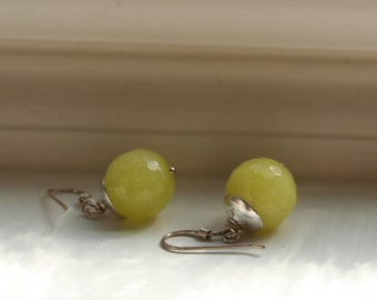 Elegant Romantic Yellow Jade Sterling Silver Dangle Earrings