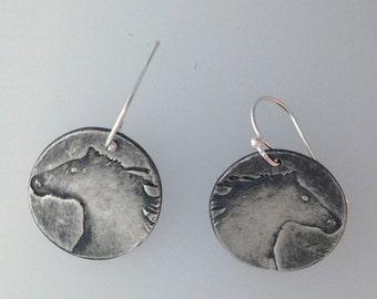 Rustic Mini Fine Silver Horse Earrings