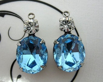 12x10 Oval Swarovski Aqua and Crystal Round Rhinestone in Silver 1 Ring Setting 1 Pair