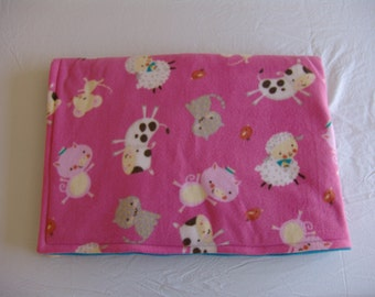 Pink Fleece Blanket with farm animals - Clearance