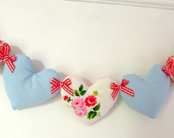 Heart Garland Pretty Florals/ Red/ Blue /Aqua