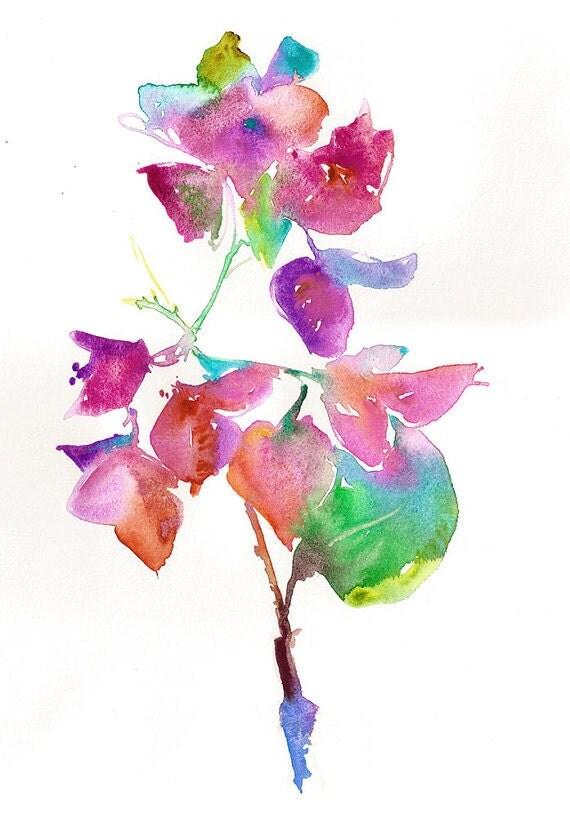 Original Watercolor Painting, Watercolour Flowers Bouganvilla