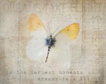 Butterfly Print, Inspirational Art, Motivational Artwork, Inspirational Quotes, Dreams take Flight, Yellow, Warm, Typography Print, Decor