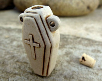 Coffin high fired ceramic bottle bead - HFBOT91