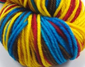 "Hand dyed yarn, 4 stripe self-striping sock yarn, Worsted Superwash Merino, ""Lucas"" 100g"