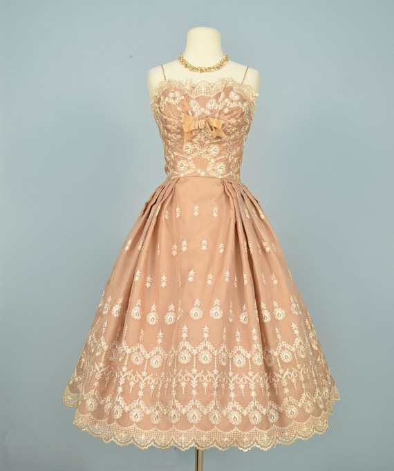 Vintage 1950s wedding dress lord taylor tea length for Lord and taylor dresses for weddings