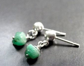 SALE Jewelry, Raw Emerald Earrings, Sterling Silver, Emerald Earrings, Sterling Silver Post Earrings, Accessories, Holiday Gift, Gift Box