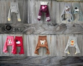 CUSTOM / Made To Order Upcycled Wool FOOTIES Longies Diaper Cover With Added Doubler Select Your Size Color Applique
