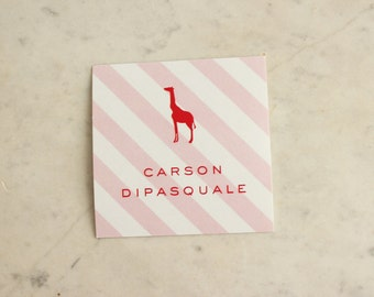 personalized children's gift stickers - giraffe (girl, pink & red)