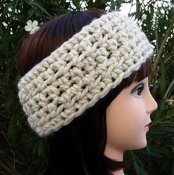 Crochet Headband Ear Warmer Off White Wheat Thick Bulky Chunky
