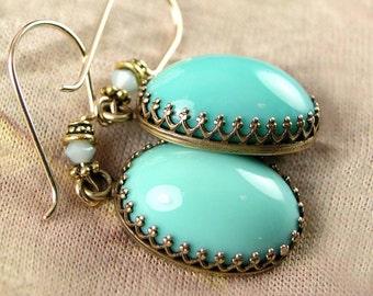 Turquoise Blue Earrings Czech Glass Earrings Vintage Style Antique Gold Earrings Pastel Opal Blue Earrings