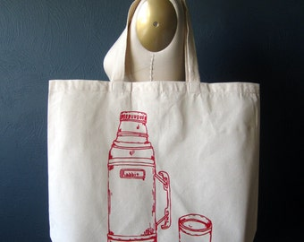 Screen Printed Recycled Cotton Tote Bag - Eco Friendly Grocery Tote - Canvas Tote Bag - Large Tote - Thermos Book Bag - Handmade Tote