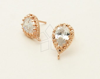 SI-565-RG / 2 Pcs - Pear Cut CZ Earrings, Rose Gold Plated, with .925 Sterling Silver Post / 9mm x 14mm