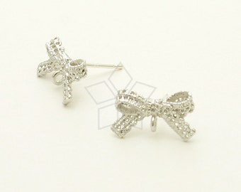 SI-600-MS / 2 Pcs - Lace Ribbon Stud Earrings, Matte Silver Plated, with .925 Sterling Silver Post / 14mm x 8mm