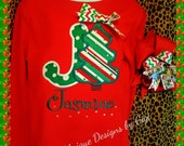 Christmas appliqued Initial tee shirt, with FREE name
