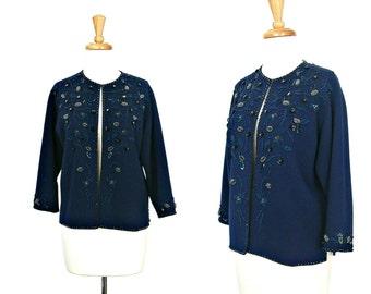 Vintage Beaded Sweater - 60s sweater -  beaded sweater - party jacket -  evening jacket  - opera jacket - cardigan - M L