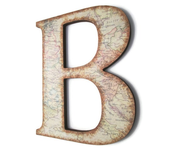 decorative letter b decorative wall letter b with vintage european map and 21329 | il 570xN.546753087 eami