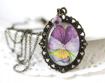 Purple Pansy Vintage Art Pendant Necklace - Purple and Yellow Romantic Bridesmaid Jewelry for Spring Wedding