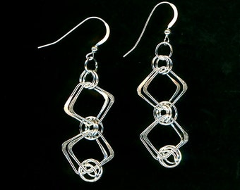 Square Wire Silver Earrings Chainmaille Sterling Silver Earrings Wire Jewelry Hammered Wirework Dangle Women Metal Earrings
