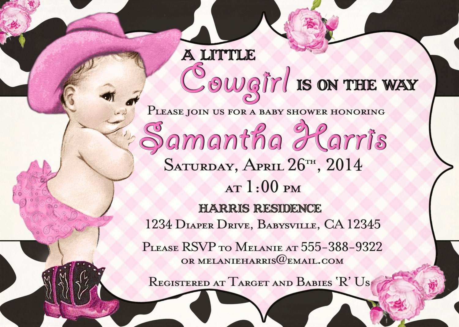 cowgirl baby shower invitation for girl vintage cowgirl
