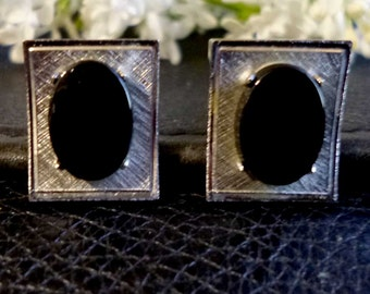 Black Obsidian and Brushed Stainless Steel Vintage Cufflinks
