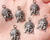 Buddha Head Charms (6pcs) (14mm x 22mm / Tibetan Silver) Religious Buddhist Jewelry Pendant Bracelet Earrings Zipper Pulls Bookmark CHM729