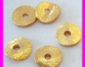 30x 6mm gold plated sterling silver potato chip curved brused texture round disk spacer VS39
