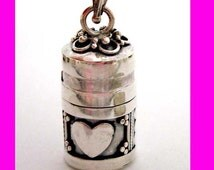 Heart Love Sterling Silver Prayer Box tube container treasure holder pendant with or without bead chain PR1