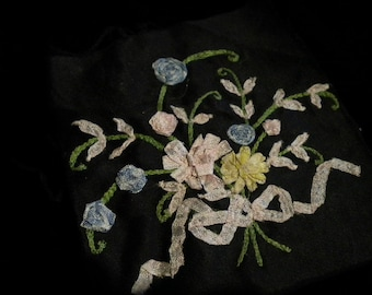 x Spectacular Ribbon Work Pastel Bouquet on black fabric (FF222)