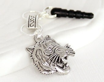 Animal Phone Charm - Roaring Tiger Charm, Chainmaille Chain, Headphone Jack Dust Plug Charm