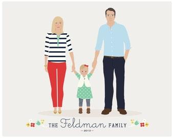 personalized portrait, Custom Family Portrait, father's day