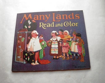 1930s Many Lands Coloring Book - Saalfield No. 2102