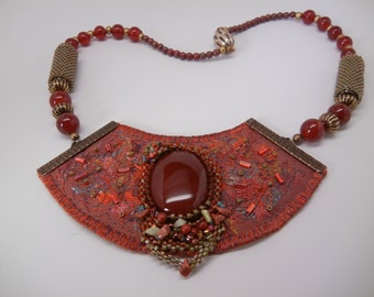 Fabric Collage Necklace /Carnelian