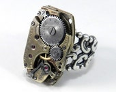 STEAMPUNK Watch Ring Clockwork Ring, Watch Antique Movement Silver Adjustable Ring, Steampunk Jewelry by compassrosedesign