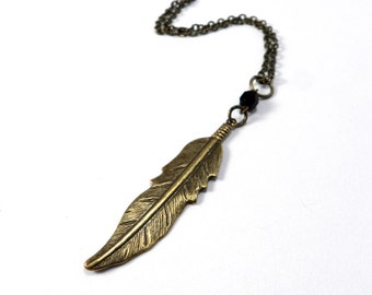 Boho Feather Necklace Upcycled Vintage Brass Long Chain Necklace, Steampunk Jewelry by compassrosedesign