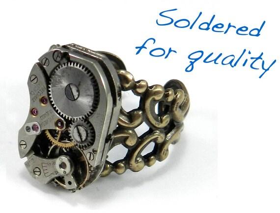 steunk ring clockwork mechanical ring brass ring
