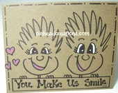 "Greeting Card PinHead Happy Face ""You Make Us Smile"""