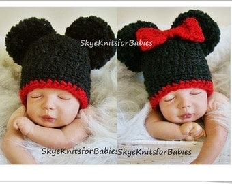 Crochet Baby Hats, Set Mickey and Minnie Mouse Inspired Pom Pom Hats, Double Pom Pom Hat, Newborn Photography Prop - Also Sold Separately