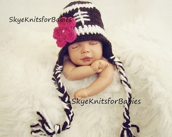 Crochet Baby Hat, Baby Girl Football Hat, Removable Flower, Crochet Football Hat, Baby Football Hat, Baby Hat, Newborn Photo Prop