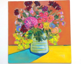 Handpicked Summer Flowers - Original Acrylic Painting 12 x 12 Inches