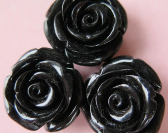 3PCS - Rose Cabochons - 20mm - Black - Holes for Stringing - Jewelry Supplies