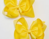 Large Hair Bow Set Big Girls Childrens Kids Boutique  Fashion Hair Clip Hairbows Hair Accessories (Set of 2) Choose Colors