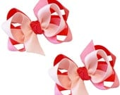 Girl's Combination Hair Bow Set Medium Childrens School Bows Kids Boutique Fashion Hair Clip Hairbows (Set of 2) Choose Colors