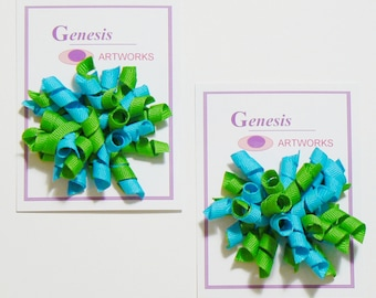 Girls Corker Hair Bow Set Baby Toddler Childrens Kids Boutique Fashion Small Little Curly Hair Clip Turquoise and Green Hairbows (Set of 2)