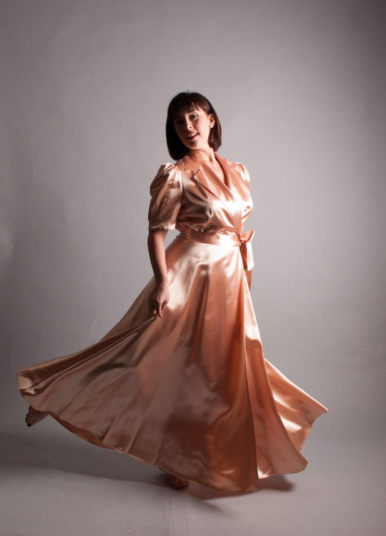 1940s Dress Silky Stars Vintage 40s Dress: Vintage 1940s Satin Robe 40s Satin Dressing Gown Ms