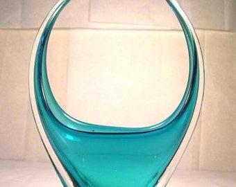 A Fine Mid Century Art Glass Basket M29