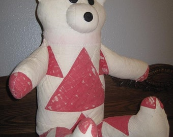 Mid Century Red & White Teddy Bear From 1930's Quilt-30's Stuffed Quilt Bear-Primitive Rustic Vintage Nursery-Rustic Farmhouse Teddy Bear