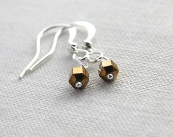 Summer Party Gift Petite Earrings Minimal Earrings Geometric Earrings Bronzed Hematite Stone Earrings Silver Earrings Tiny Hexagon Earrings