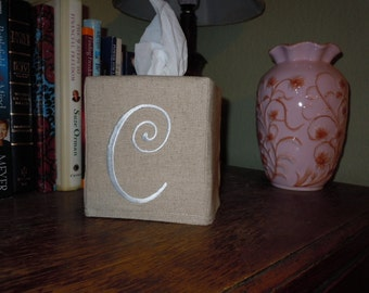 """Monogrammed Essex Natural Linen Tissue Box Cover -  Made To Order - Frivolous Font """"C"""""""