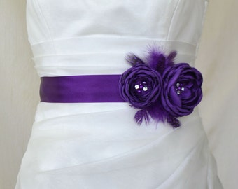 Handcraft Deep Purple Two Flowers With Feathers Wedding Bridal Sash Belt